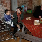 No high chairs at the farm shop so Olive commandiered a shopping trolley