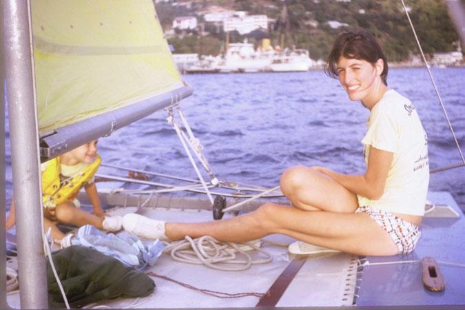 Mum sailing the cat