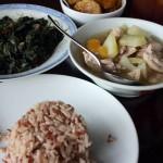 brown rice, spicy sweet potato leaves, papaya chicken, banana curry
