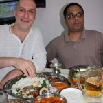 Phil tucking into a thali with mutton curry