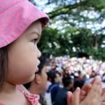Olive watching the Fuji World of Hawks show at Jurong Bird Park